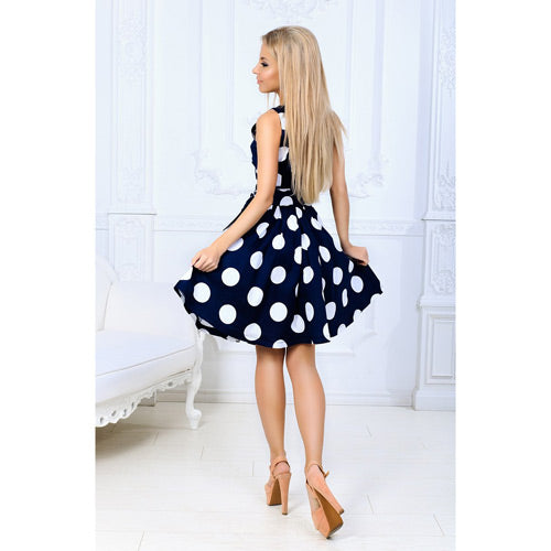 Sleeveless A-line fit and flare dress with Polka dots and a sash