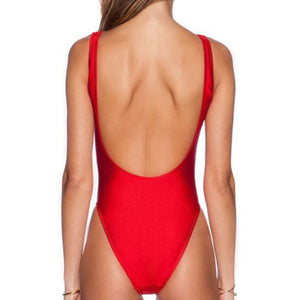 Backless Bae Watch Swimsuit Red High Leg One-piece