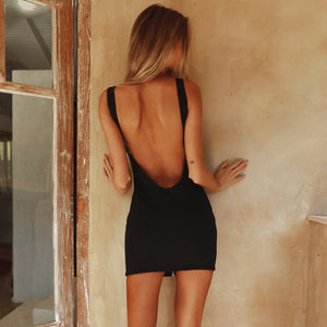 Backless Black Mini Dress Sleeveless