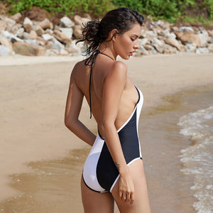 Backless One-piece Swimsuit Halter Top One-piece Black and White Swimsuit