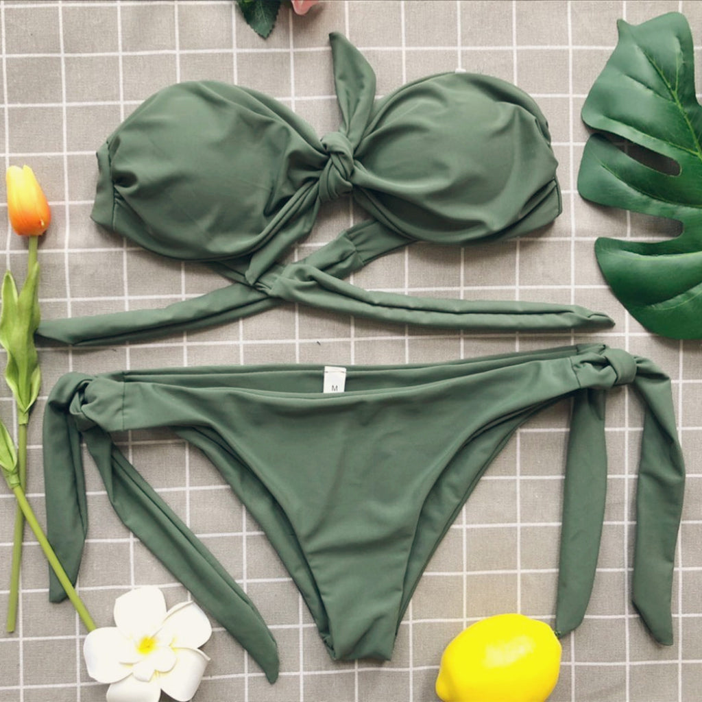 Tie-front Bandeau Bikini Green Swimsuit Tie-side Bottoms