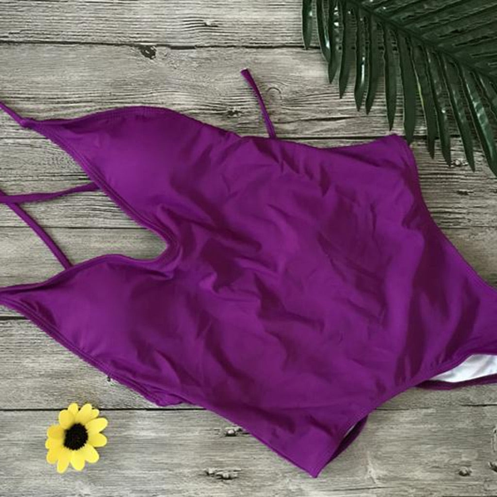 Basic Purple One-piece Swimsuit
