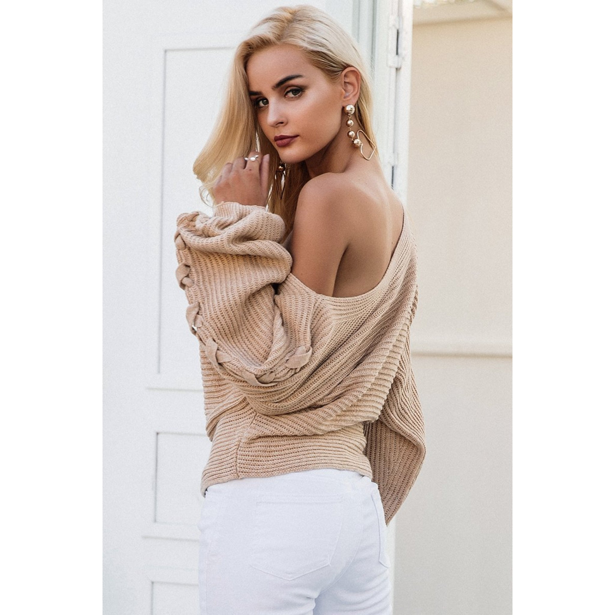 Batwing Sleeve Sweater with One Shoulder Cute Fall Outfit