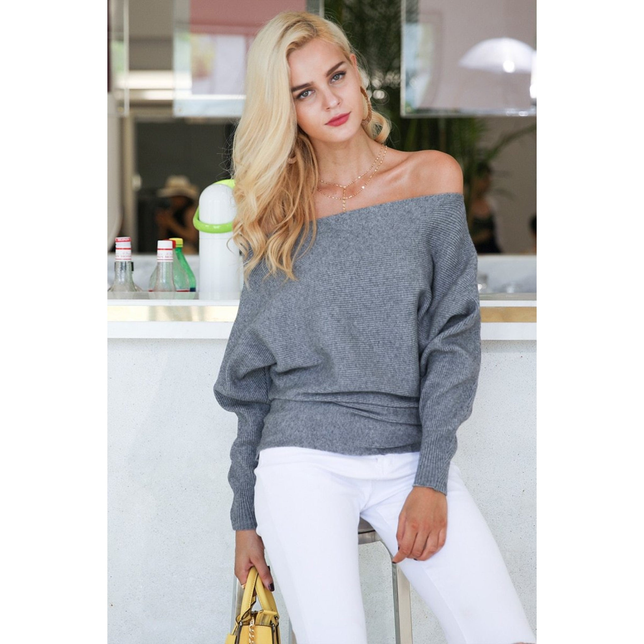 Gray Batwing Sleeve Sweater also an Off the Shoulder Sweater with long sleeves