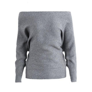 Women's Gray Batwing Sleeve Sweaters also off the shoulder sweater