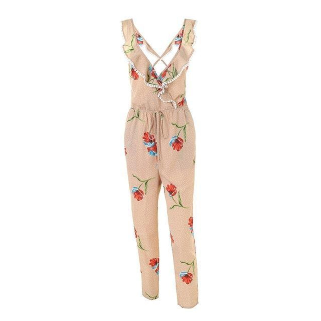 Beige Jumpsuit Outfit for Women Sleeveless with floral pattern full length