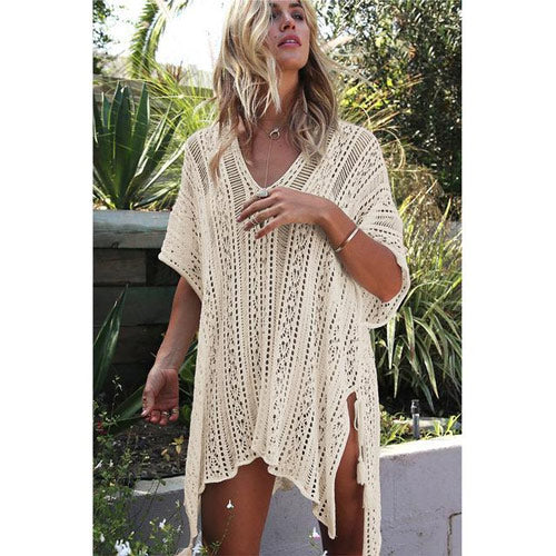 Beige Swimsuit Cover Up Beach Cardigan