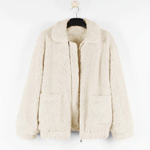 Beige Teddy Coat Women Faux Sherpa Bomber Jacket