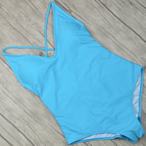 Best Blue One-piece Swimsuit Backless Tie Back One-piece Cheeky Bottom