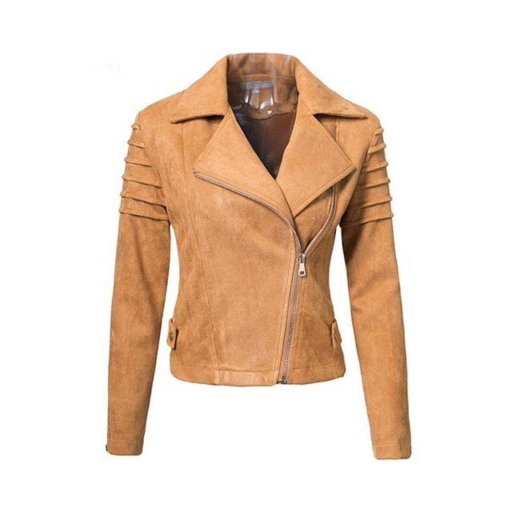 Biege Short Jacket Suede Coat for Women