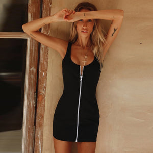 Black Backless Mini Dress Zipper Sleeveless Bodycon Dress