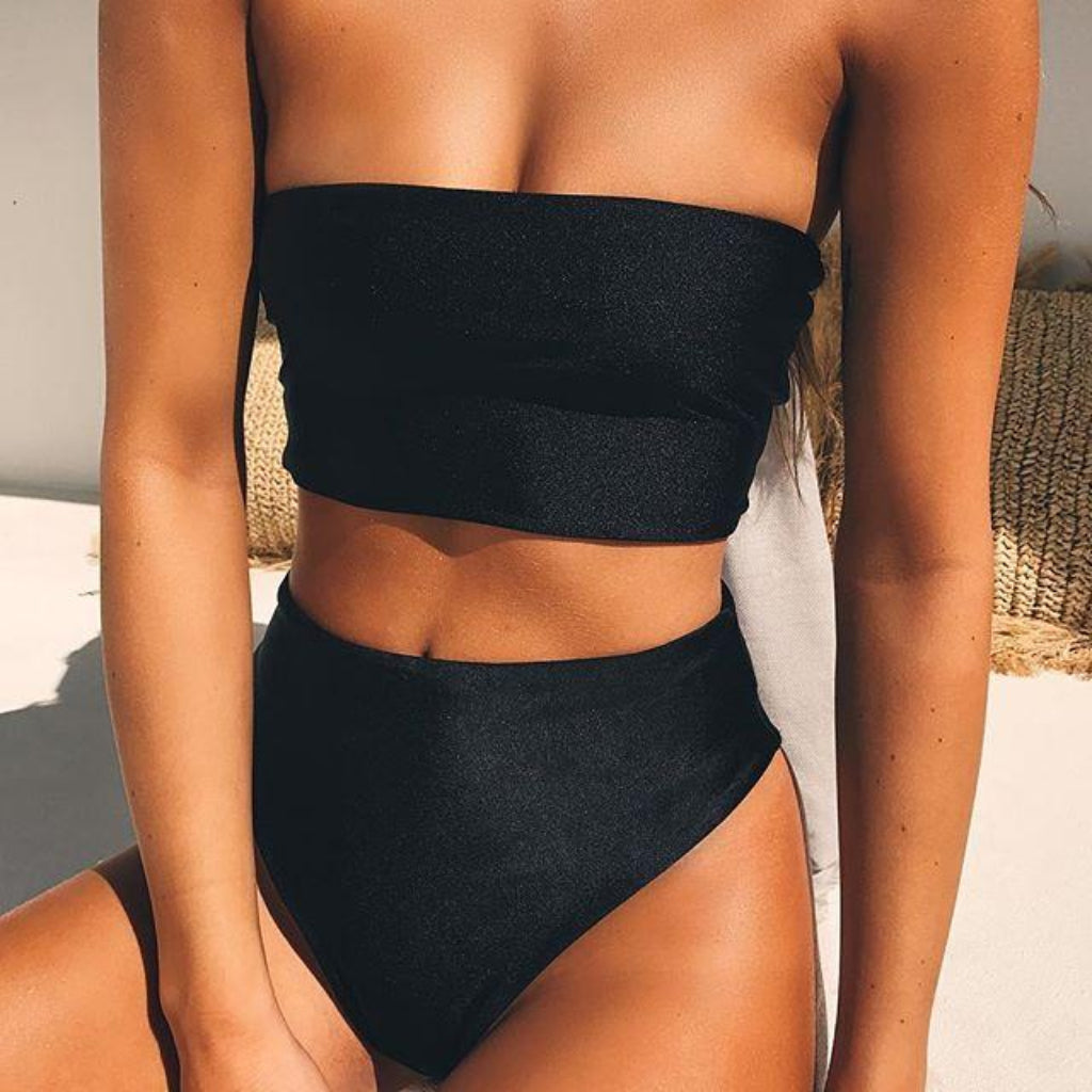Brazilian Bandeau Bikini High Waist Swimsuit