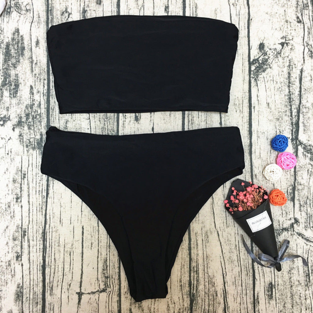 Black High Waist Bandeau Bikini Set