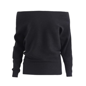 Black Batwing Sleeve Sweater for Women Off the Shoulder Sweater