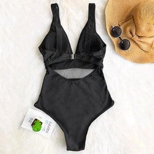 Black Cheeky Bottom One-piece swimsuit