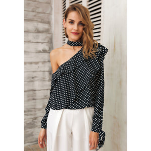 Black Cold Shoulder Blouse with Lantern Sleeves and Bow Feature Cuffs and a Seductive choker neck piece