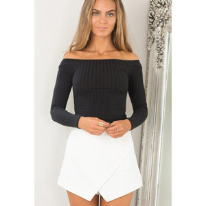 Black Crop Top Off the Shoulder Long Sleeve Street Style Women's Top