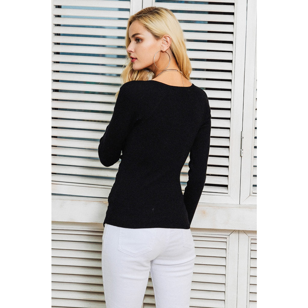 Black Pullover Sweater Long Sleeve Lace Up Sweater Cross V-neck