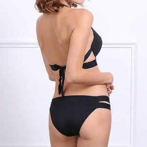 Black Full Coverage Bikini Bottoms Push Up Swimsuit