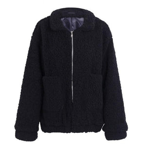 Black Fur Bomber Jacket for Women Faux Sherpa Jacket Soft fluffy jacket for women