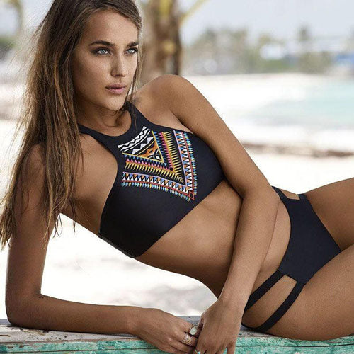 Black High Neck Bikini set For Teens