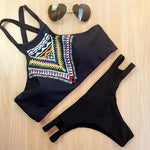 Black High Neck Bikini Set Swimwear Cheeky Bottoms with Cutouts