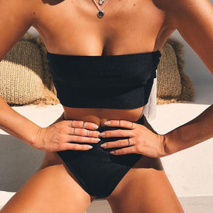 Black Bandeau Bikini Brazilian High Waist Swimsuit