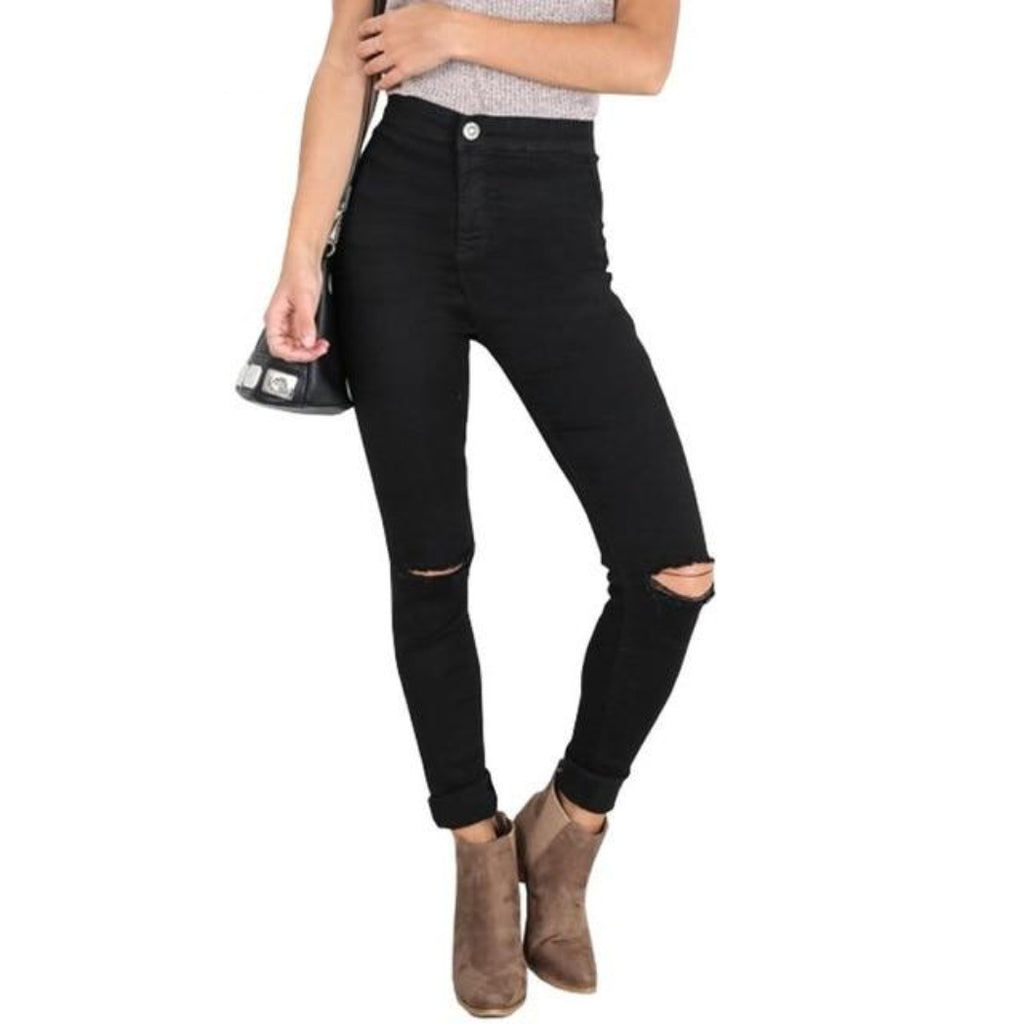Black High Waist Jeans for Women With Ripped Knees