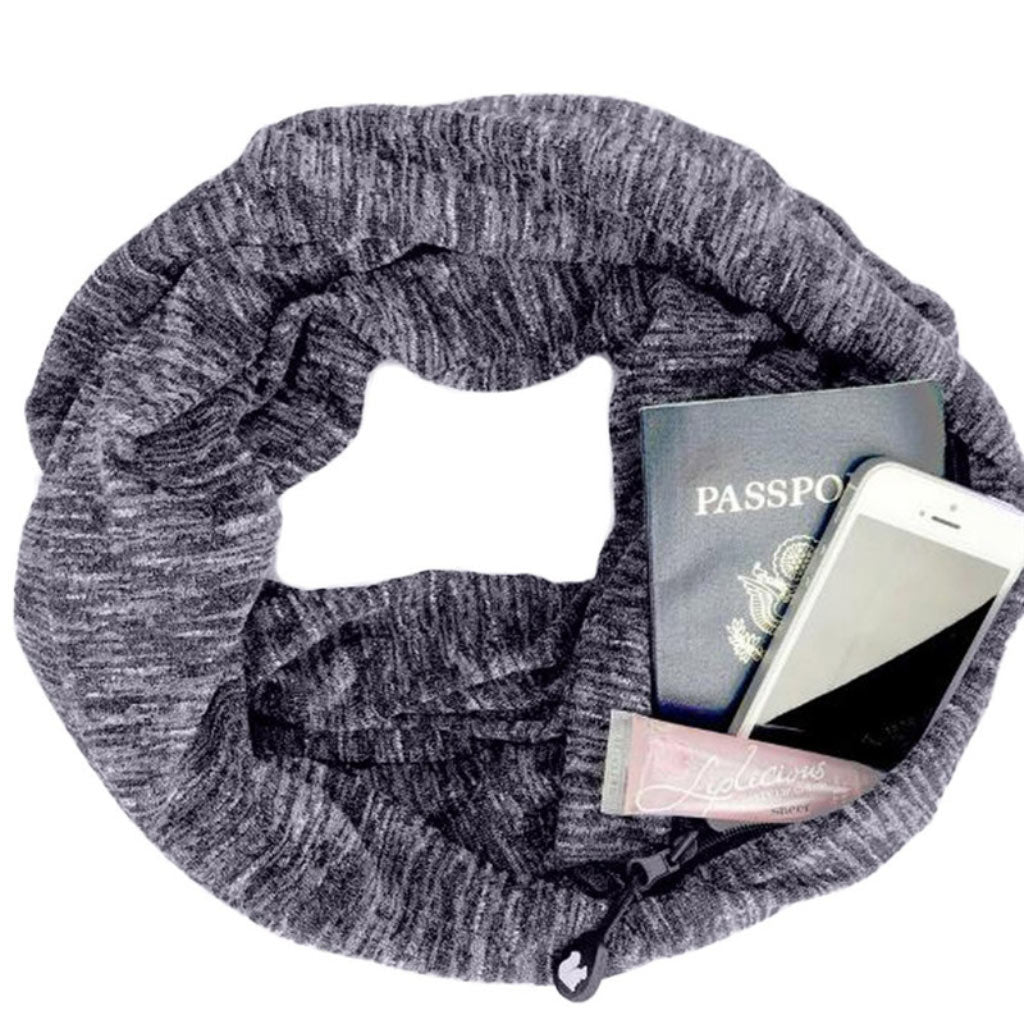 Black Infinity Scarf Women Multi Use Scarf With a Pocket Scarf for Travel