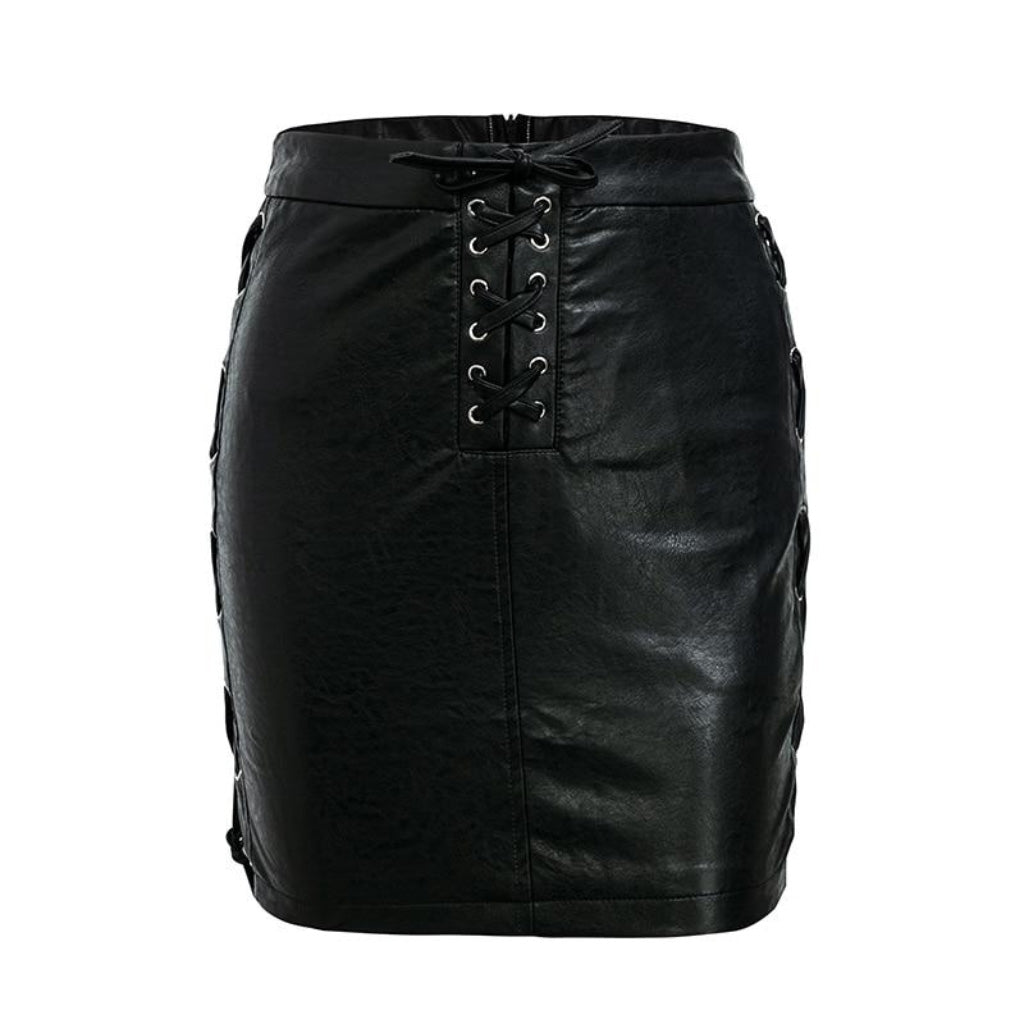 Black Leather Mini Skirt Street Style