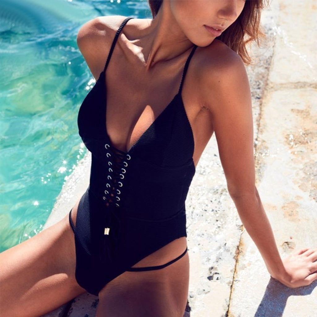 Black Strappy Lace Up One-piece Swimsuit Backless