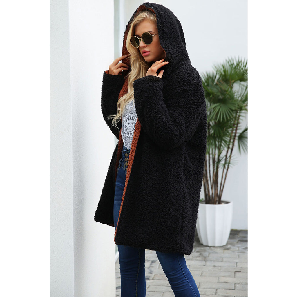 Black Soft and Fluffy Jacket Long Lambswool Jacket Reversible