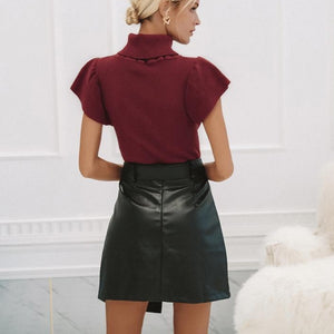 High Waisted Black Faux Leather Mini Skirt With Belt and Zipper Detailing