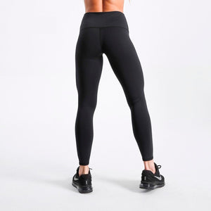 Solid Black High Waist Leggings Simple