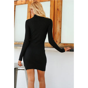Hollow Chest Bodycon Mini Dress Turtleneck