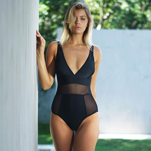 Black Mesh Cutout One-piece Swimsuit