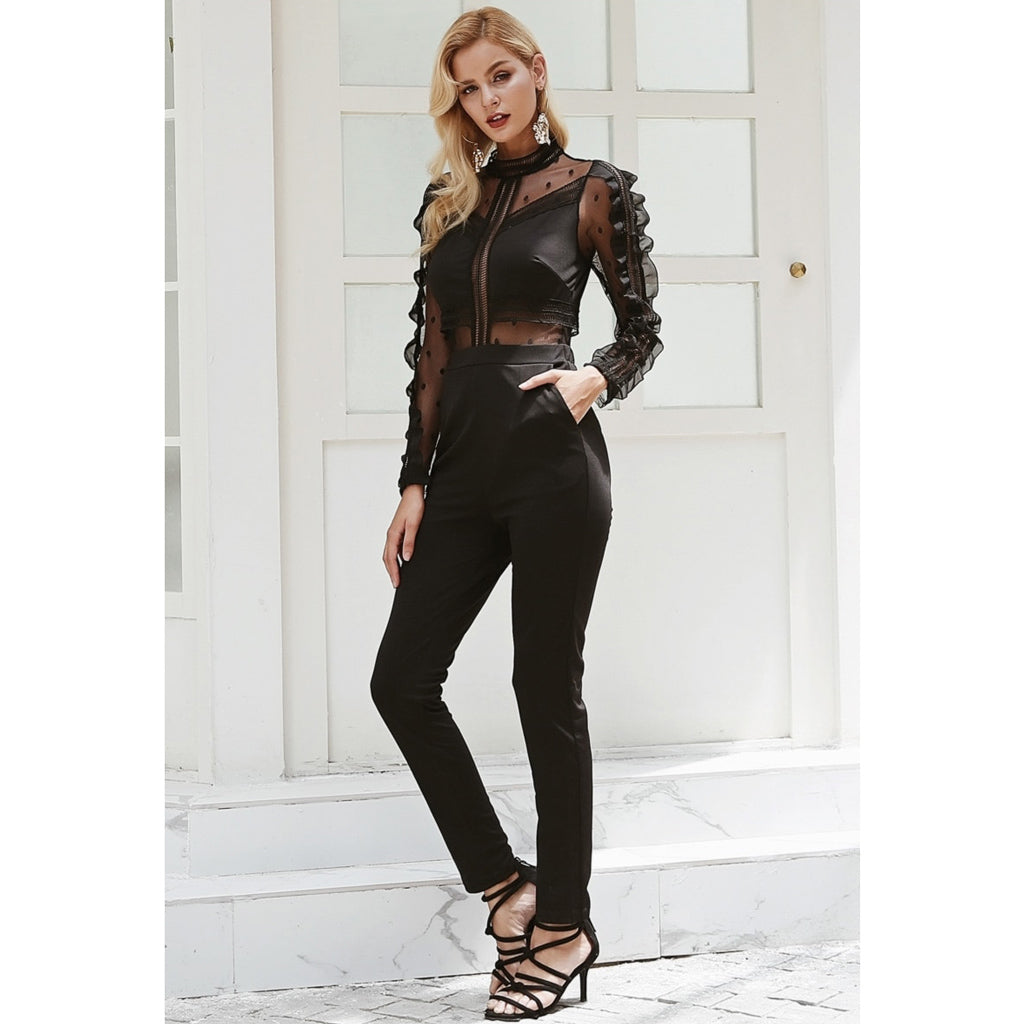 Black Mesh Long Sleeve Jumpsuit