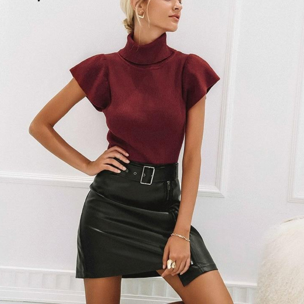 Black Faux Leather Mini Skirt With high Waist and a belt. Burgundy Blouse