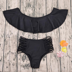 Black Off the Shoulder Swimsuit Ruffle Top High Waist Bikini Bottom With Slits