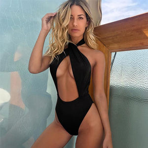 Black One Piece Swimsuit Peek a boo chest Open Stomach and Back