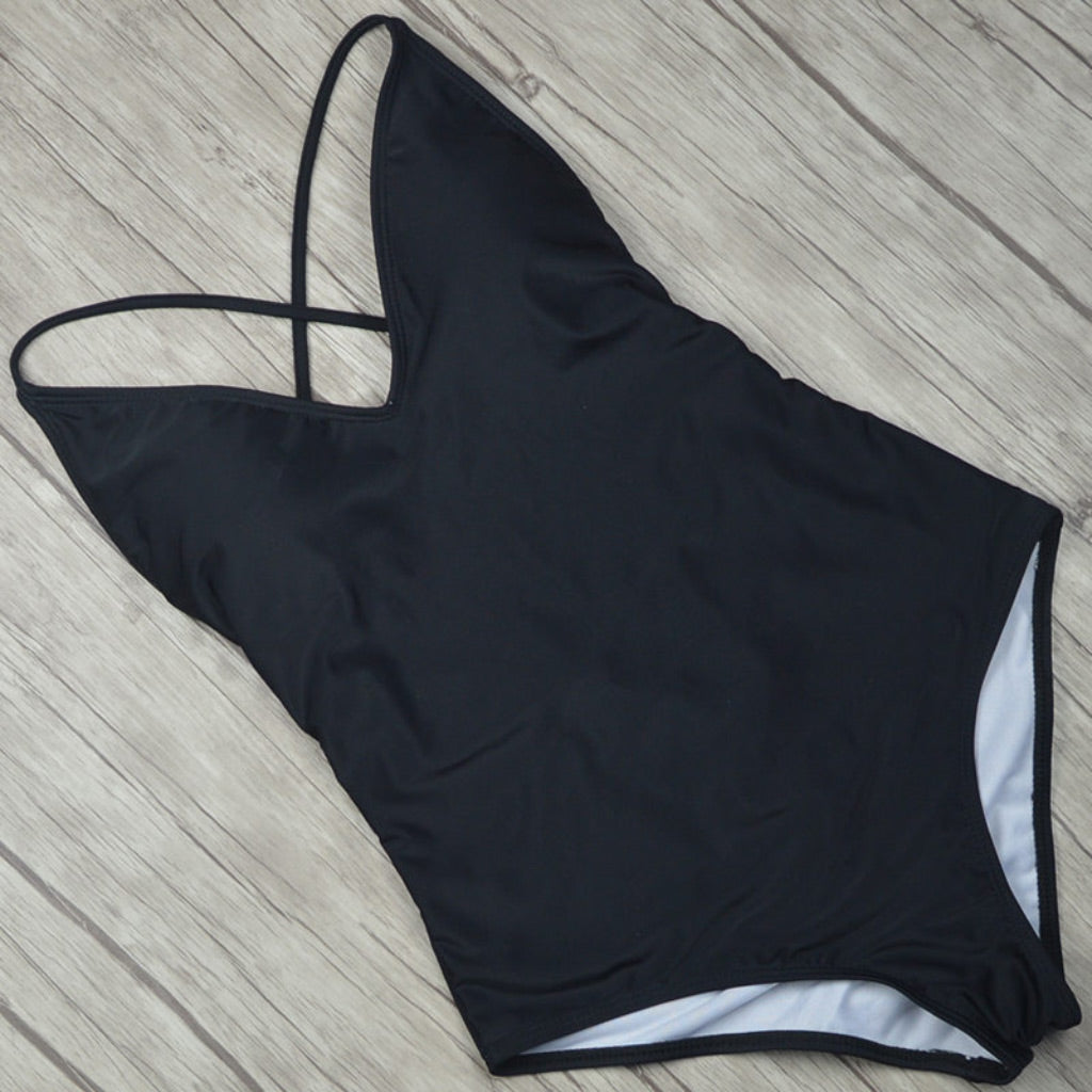 Black One-piece Basic Style One-piece Swimsuit