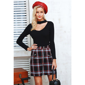 Black High Waist Plaid Mini Skirt Street Style Outfit