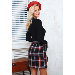 High Waist Black Plaid Mini Skirt Classy