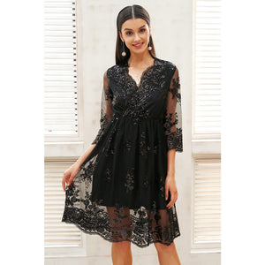 Sequin Dress Midi Black Street Style Fashion Outfit Shiny Sequin Dress Mesh Overlay 3/4 Sleeve Dress