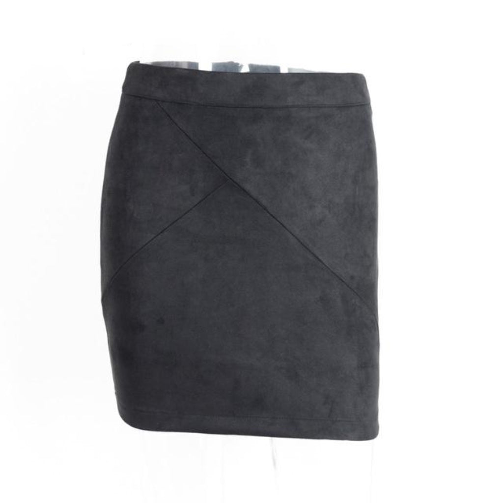 Black Suede Leather Mini Pencil Skirt high Waist Street Styles Skirt