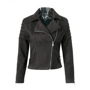 Black Suede Short Coat Women's Jacket with Ribbed Shoulders