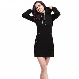 Black Sweater dress with Pockets Mini Length