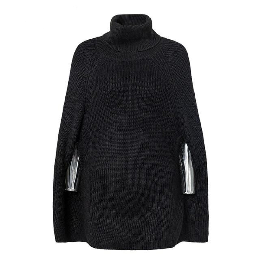 Black Turtleneck poncho batwing sleeves oversized sweater outfit womens cape