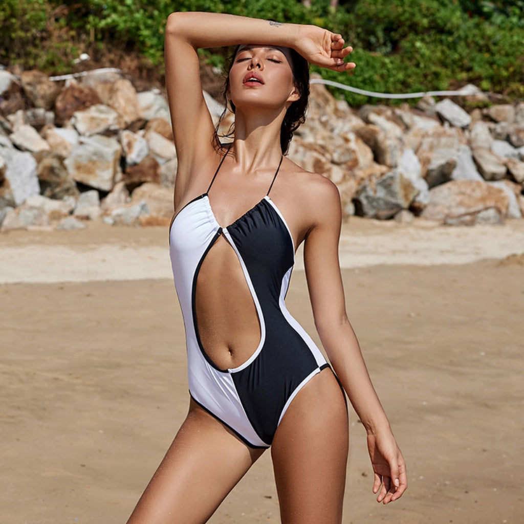 One-piece Black and White Swimsuit Backless Halter Top Swimsuit Modest One-piece Tummy Cutout Swimsuit