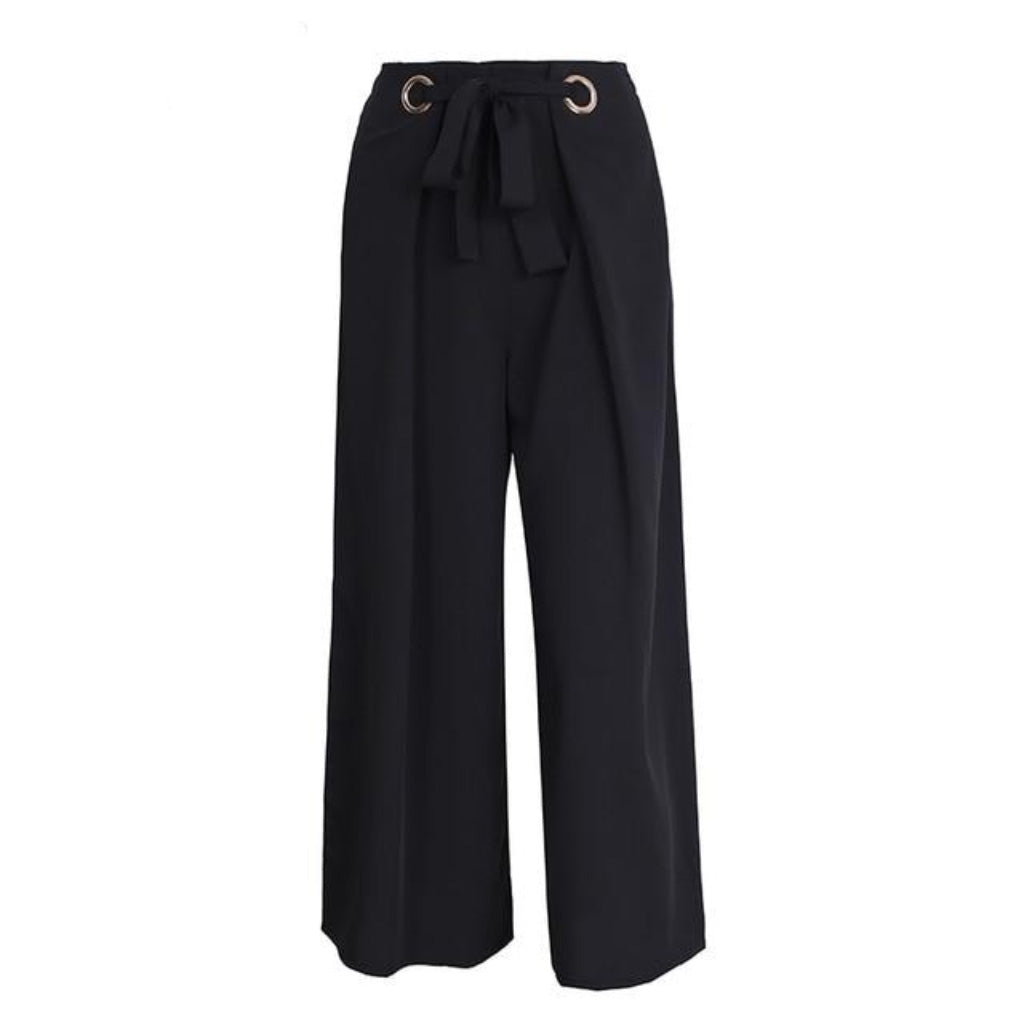 Black High Waist Capris Wide Leg Pants with Sash Eyelets and Elastic Waist